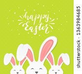 three cute easter rabbits.... | Shutterstock .eps vector #1363984685