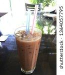 ice chocolate water on wooden... | Shutterstock . vector #1364057795