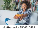 happy woman sitting at home... | Shutterstock . vector #1364110325