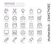 collection of office line icons.... | Shutterstock .eps vector #1364174282