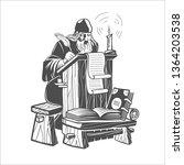 orthodox scribe creates a... | Shutterstock . vector #1364203538