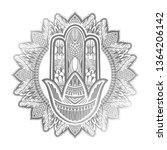 hamsa talisman religion asian.... | Shutterstock .eps vector #1364206142