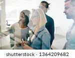smiling group of diverse young... | Shutterstock . vector #1364209682