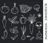 doodle fresh vegetables... | Shutterstock .eps vector #1364230178