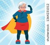 grandma in superhero costume... | Shutterstock .eps vector #1364231012