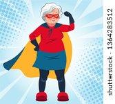 grandma in superhero costume... | Shutterstock .eps vector #1364283512
