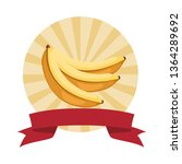bananas icon cartoon round icon   Shutterstock .eps vector #1364289692