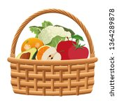 wicker basket with fruit and... | Shutterstock .eps vector #1364289878