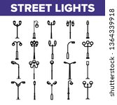 Street Lights Linear Vector Icons Set. Streetlights Thin Line Contour Symbols Pack. City Illumination Pictograms Collection. Old Fashioned Lantern, Lamp. Electricity Equipment Outline Illustrations