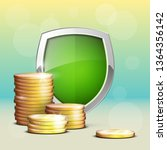 protection coins guard shield.... | Shutterstock .eps vector #1364356142