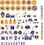 two coloured icons and buttons... | Shutterstock .eps vector #13643689