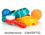Stock photo pet accessories isolated on white 136439732