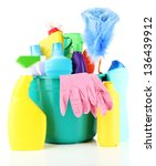 cleaning items in bucket... | Shutterstock . vector #136439912