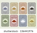 retro vintage food and spices... | Shutterstock .eps vector #136441976
