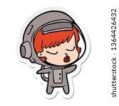 sticker of a cartoon pretty...   Shutterstock . vector #1364426432