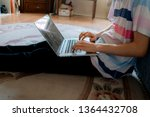 young man sit on the floor at... | Shutterstock . vector #1364432708