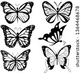 Stock vector insects butterfly outline tattoo coloring vector set 1364468678