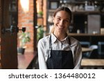 Stock photo head shot portrait successful mixed race businesswoman happy restaurant or cafeteria owner looking 1364480012