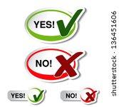 Vector oval yes no button - check mark symbol - stock vector