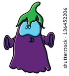 funny cartoon eggplant on the... | Shutterstock .eps vector #136452206