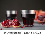 pomegranate juice in a glass on ... | Shutterstock . vector #1364547125