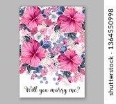 wedding invitation peony rose... | Shutterstock .eps vector #1364550998
