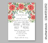 wedding invitation peony rose... | Shutterstock .eps vector #1364551052