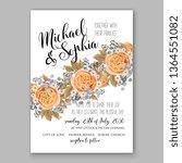wedding invitation peony rose... | Shutterstock .eps vector #1364551082