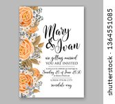 wedding invitation peony rose... | Shutterstock .eps vector #1364551085