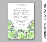 wedding invitation floral peony ... | Shutterstock .eps vector #1364551502