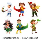 little children in costumes.... | Shutterstock .eps vector #1364608355