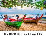 Blurred Fisherman Boats Sand Coast - Fine Art prints