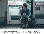 attractive woman on dark street ... | Shutterstock . vector #1364635232