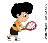 boy playing tennis.vector and... | Shutterstock .eps vector #1364655872
