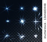 set of bright luminous blue... | Shutterstock . vector #1364683448