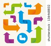 colorful arrows set vector... | Shutterstock .eps vector #136468832