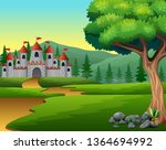 cartoon of hill road to castle | Shutterstock .eps vector #1364694992