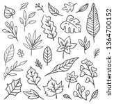 set of leaves doodle | Shutterstock .eps vector #1364700152