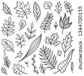 set of leaves doodle | Shutterstock .eps vector #1364700155