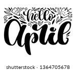 hand letering hello april logo... | Shutterstock .eps vector #1364705678