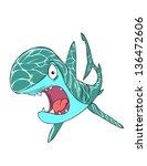 funny shark frightened | Shutterstock .eps vector #136472606