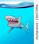 shark smile ocean | Shutterstock .eps vector #136472996