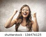 portrait of happy woman | Shutterstock . vector #136476125