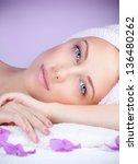 closeup portrait of beautiful... | Shutterstock . vector #136480262