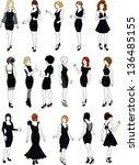 set of sixteen mannequins...   Shutterstock .eps vector #136485155