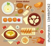 homemade and fast food meals...   Shutterstock .eps vector #1364869262