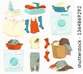 washing machine and iron dirty... | Shutterstock .eps vector #1364869292