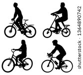 set silhouette of a cyclist... | Shutterstock .eps vector #1364890742