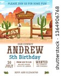 wild west birthday party... | Shutterstock .eps vector #1364906768