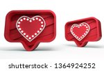 like heart icon on a red pin on ... | Shutterstock . vector #1364924252
